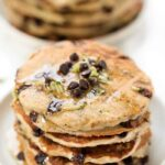 Healthy Zucchini Chocolate Chip Pancakes with syrup
