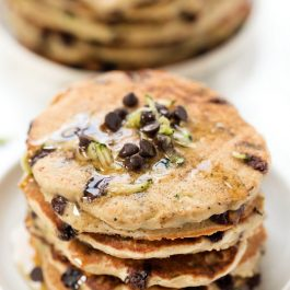 Healthy Zucchini Chocolate Chip Pancakes