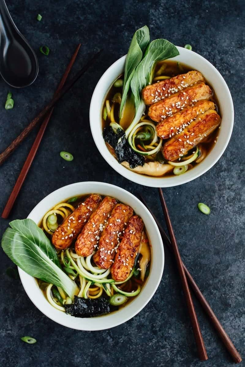 Zucchini Noodle Ramen Bowls with Tempeh