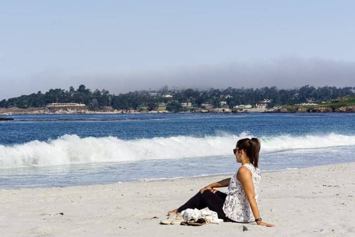 Sitting on Carmel Beach