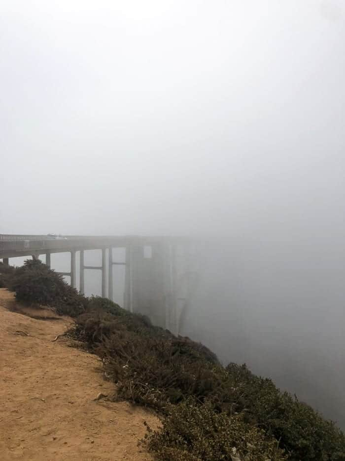 Bixby Bridge covered in fog