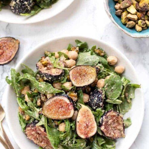 Arugula, Fig, Pistachio Salad with Balsamic Vinaigrette