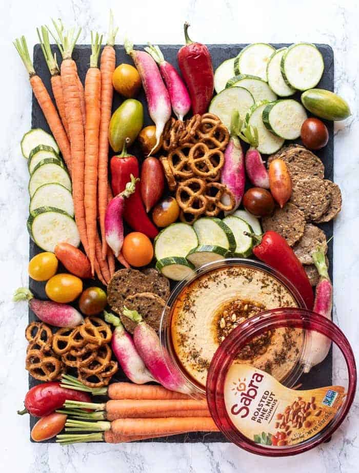 Summer Hummus Board with Fresh Veggies