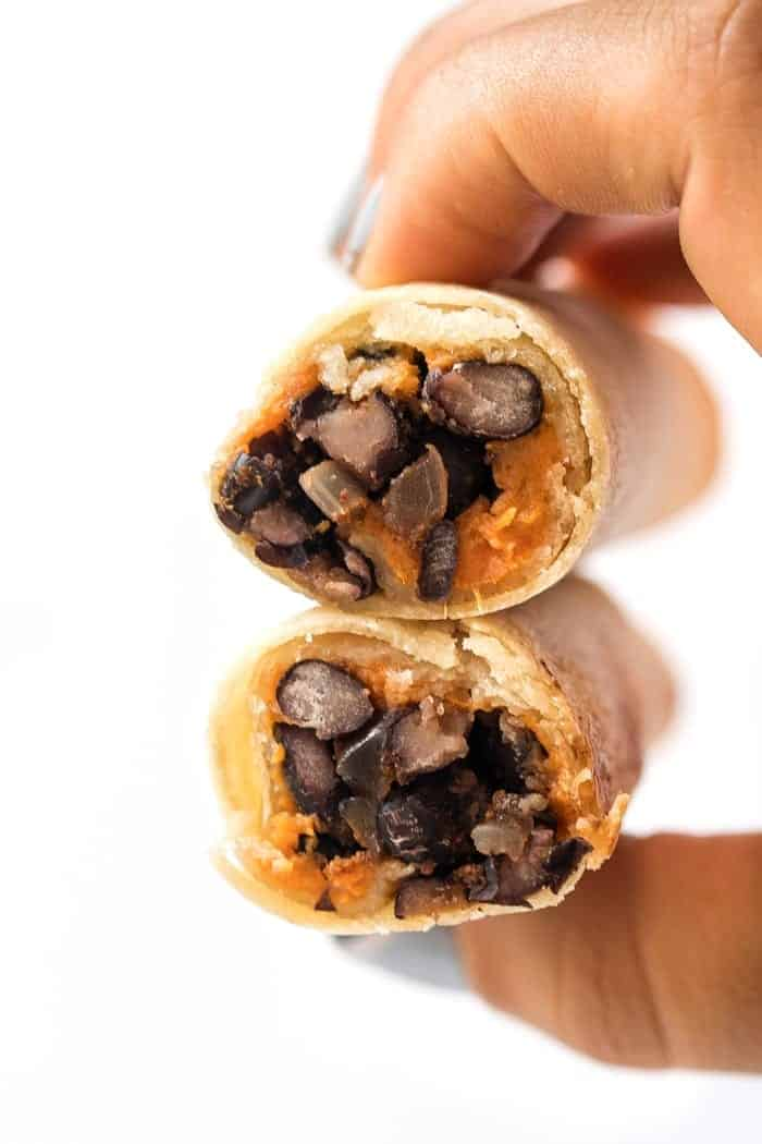 Healthy Vegetarian Taquitos with Black Beans