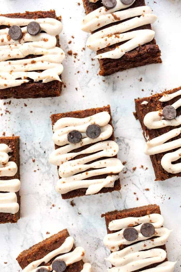 Mummy Pumpkin Bars with Cream Cheese Frosting