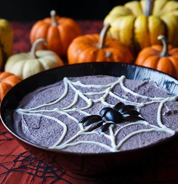 Spooky Black Bean Hummus for Halloween