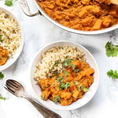 Red Lentil Curry with Sweet Potatoes