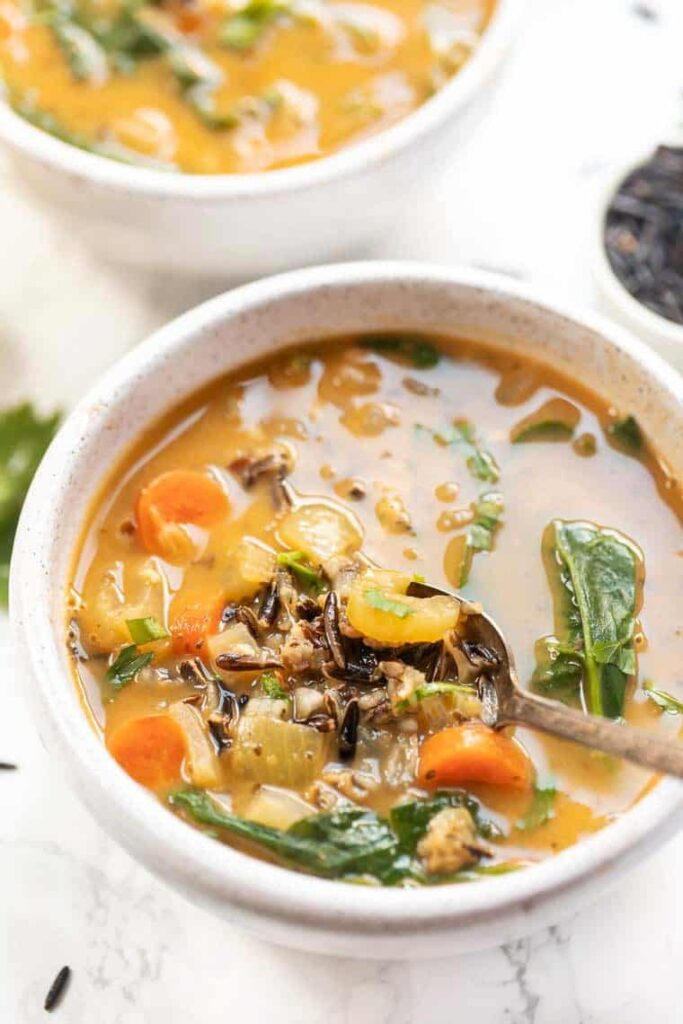Vegan Rice Soup with Veggies