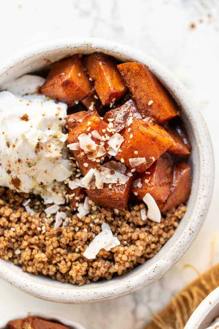 Caramelized Butternut Squash and Quinoa Breakfast Bowls