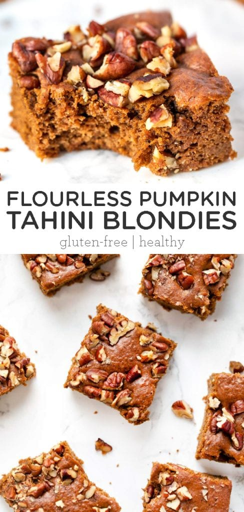 flourless pumpkin tahini blondies
