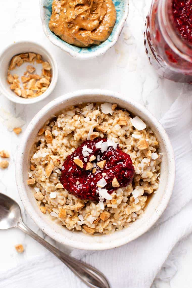 Peanut Butter & Jelly Steel Cut Oats