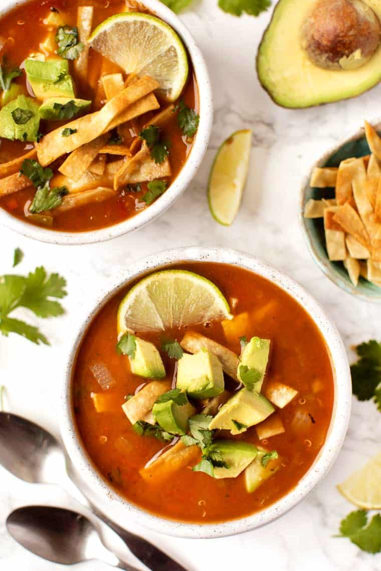 Vegan Quinoa Tortilla Soup