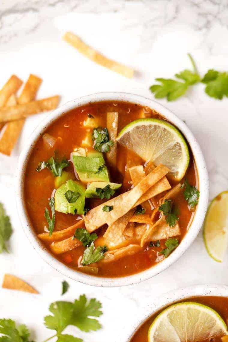 Vegan Tortilla Soup with Quinoa