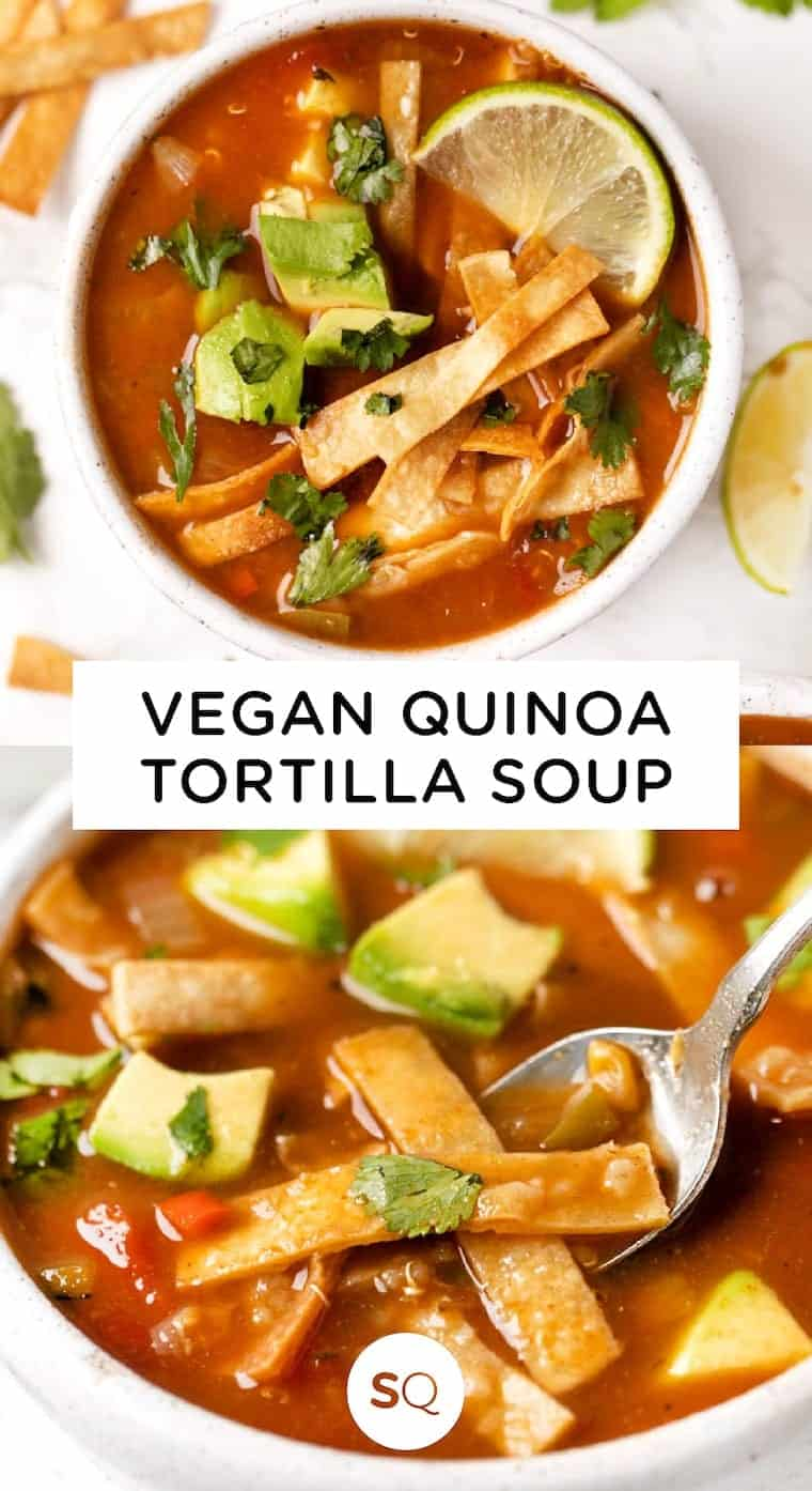 Collage of Vegan Tortilla Soup