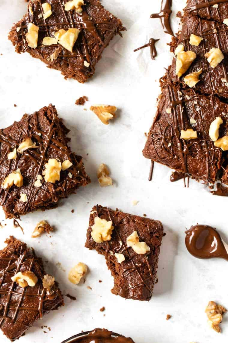 Vegan Fudge Brownies with Almond Butter