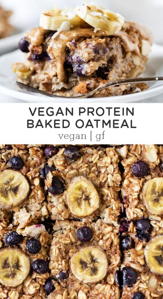 Vegan Protein Banana Blueberry Baked Oatmeal