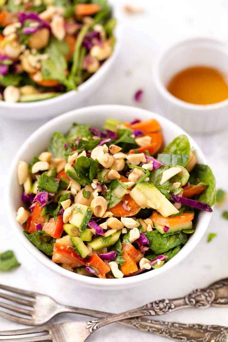 Thai Chopped Spinach Salad with Chickpeas