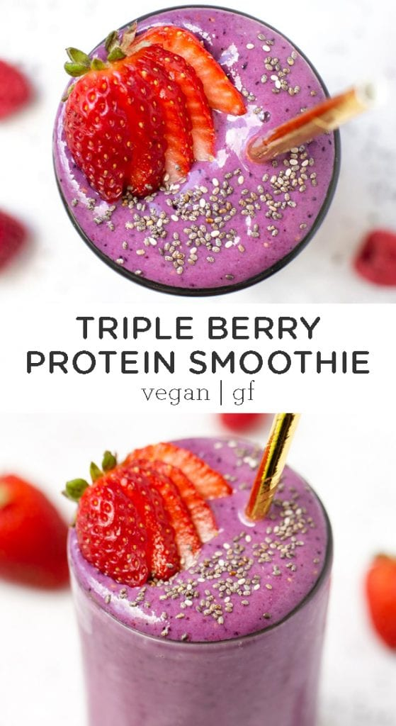 vegan berry protein smoothie