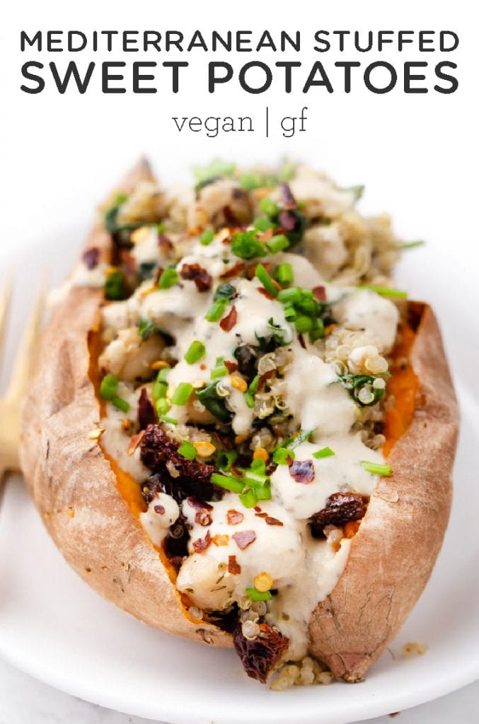 Vegan Stuffed Sweet Potatoes recipe filled with a Mediterranean Quinoa