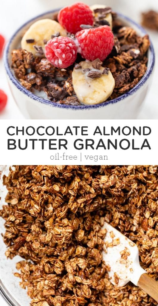 healthy chocolate almond butter granola