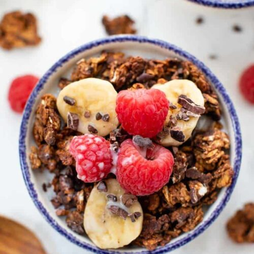 Almond Butter Granola with Chocolate