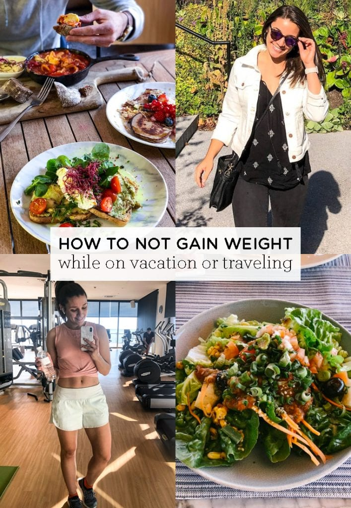 How to NOT gain weight on vacation! These 5 easy tips will help you stay fit and thin while you're traveling. It includes food tips, workout tips and more!