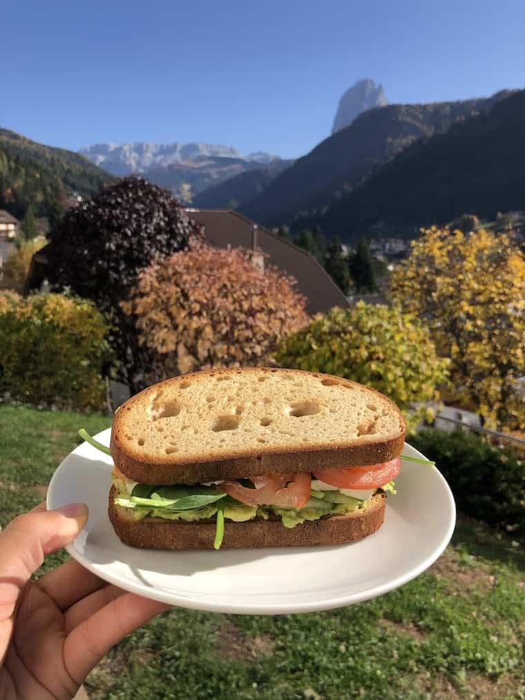 Vegan Sandwich in Dolomites