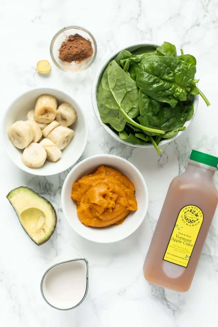 Ingredients for Pumpkin Spinach Smoothie