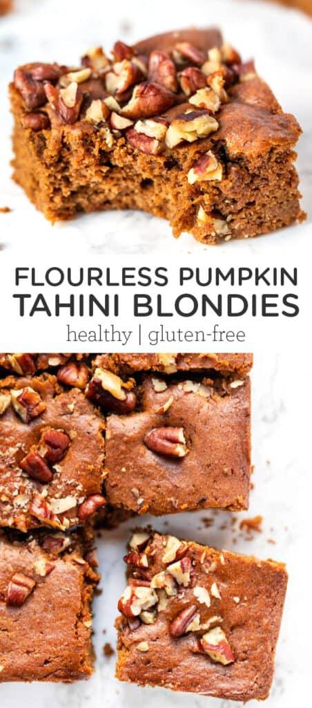 Flourless Pumpkin Tahini Blondies