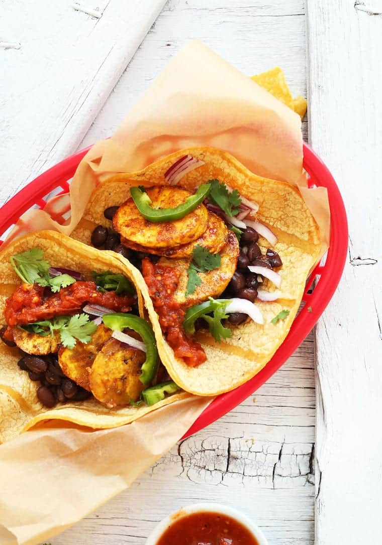 Spicy Plantain Black Bean Tacos from Minimalist Baker