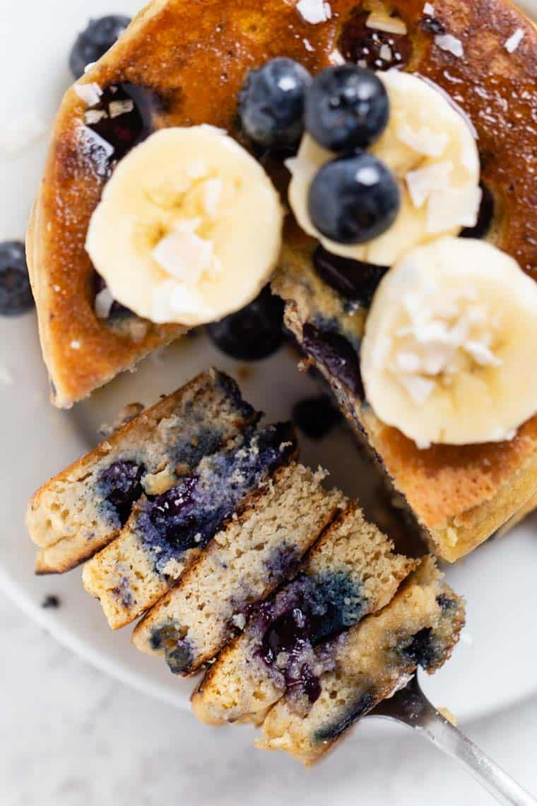 Gluten Free Protein Pancakes with Blueberries