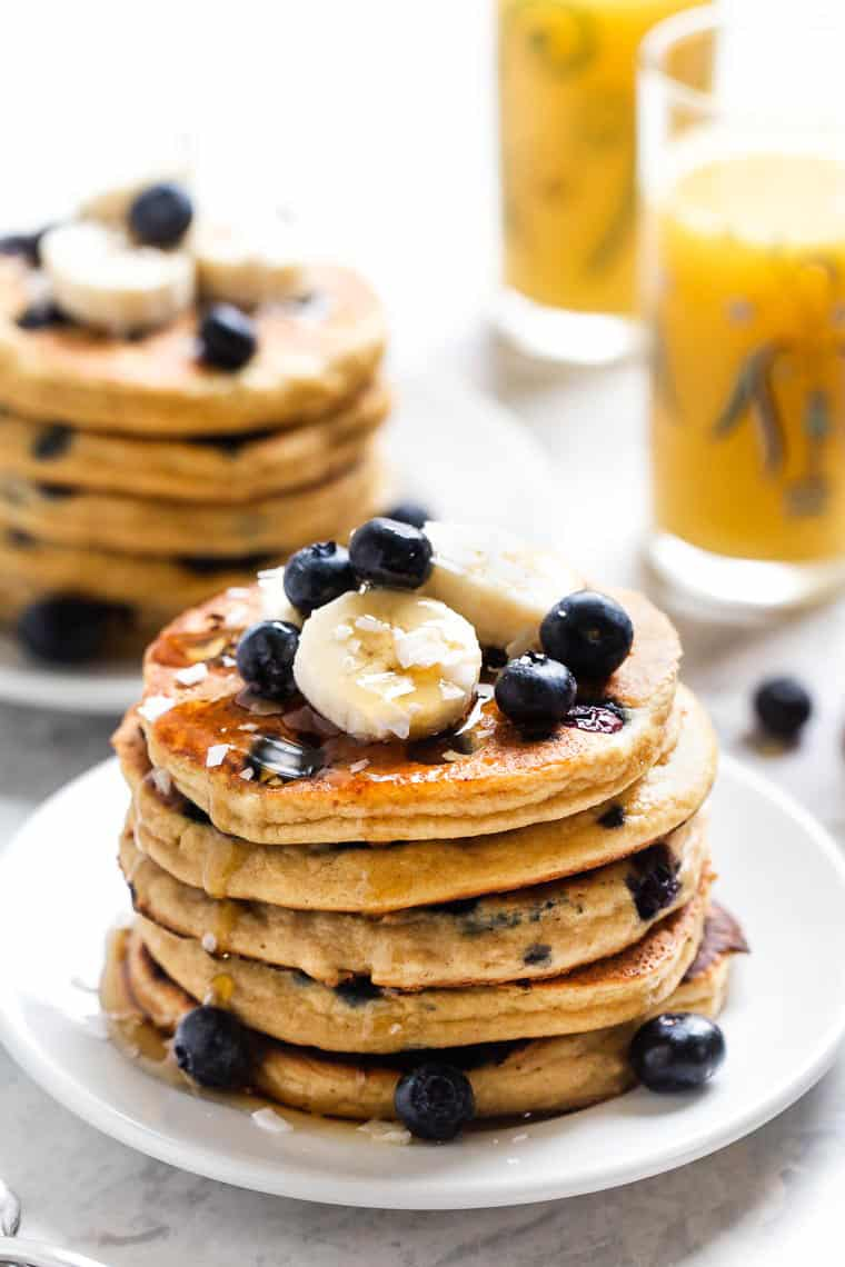Healthy Protein Pancakes with Blueberries