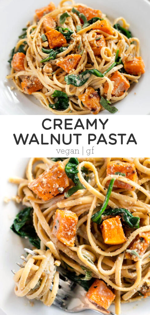 Creamy Walnut Pasta with Butternut Squash and Spinach