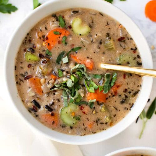 Vegan Wild Rice Soup in Instant Pot