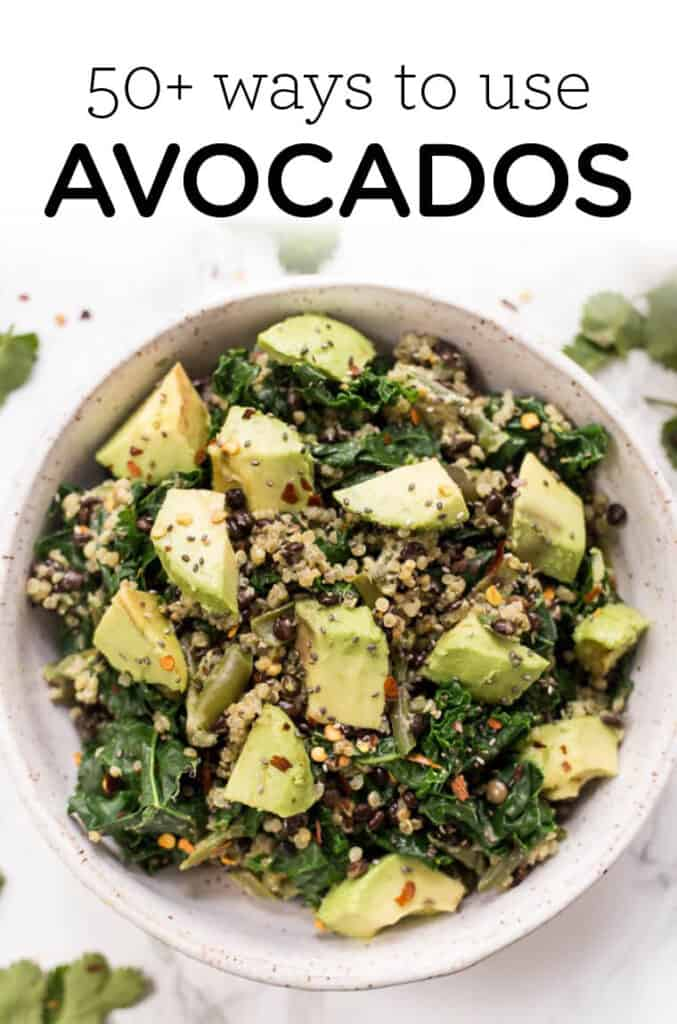 Lentil Salad with Avocados on Top