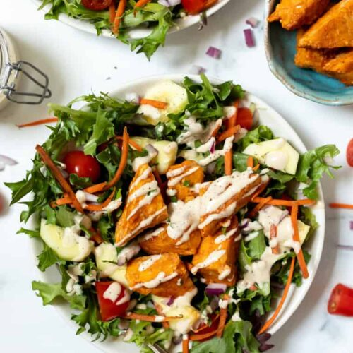 Easy Buffalo Tempeh Salad Bowls