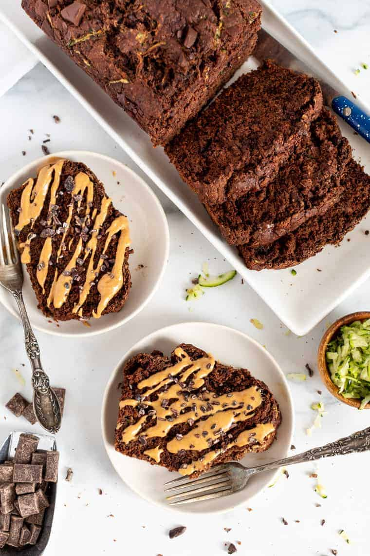 Chocolate Zucchini Bread with Peanut Butter