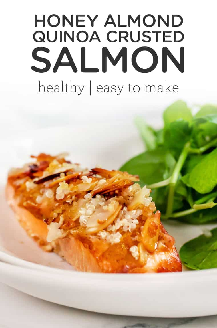 Honey Almond Quinoa Crusted Salmon