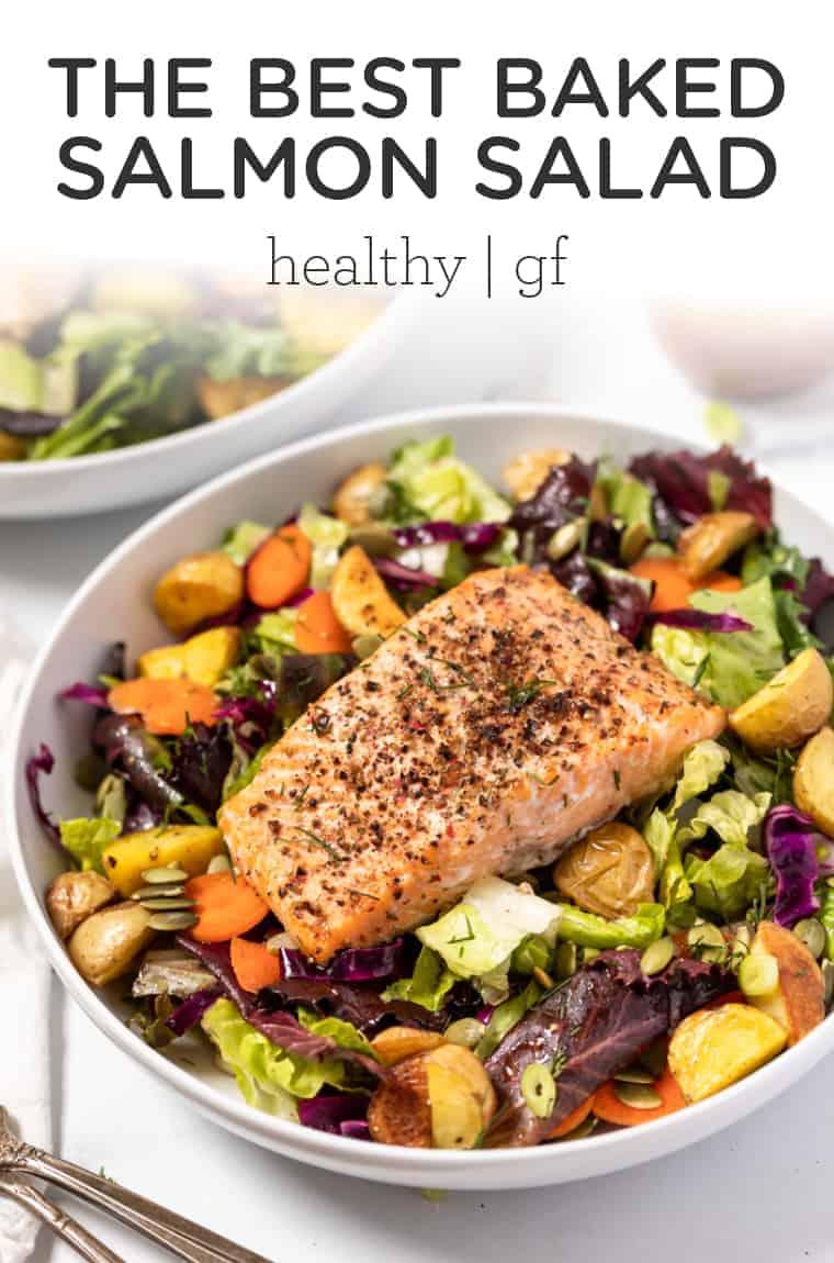 Healthy Baked Salmon Salad