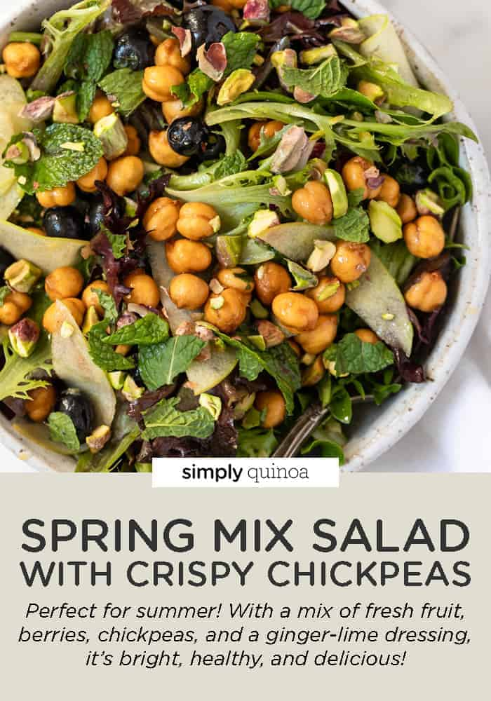Spring Mix Salad with Crispy Chickpeas