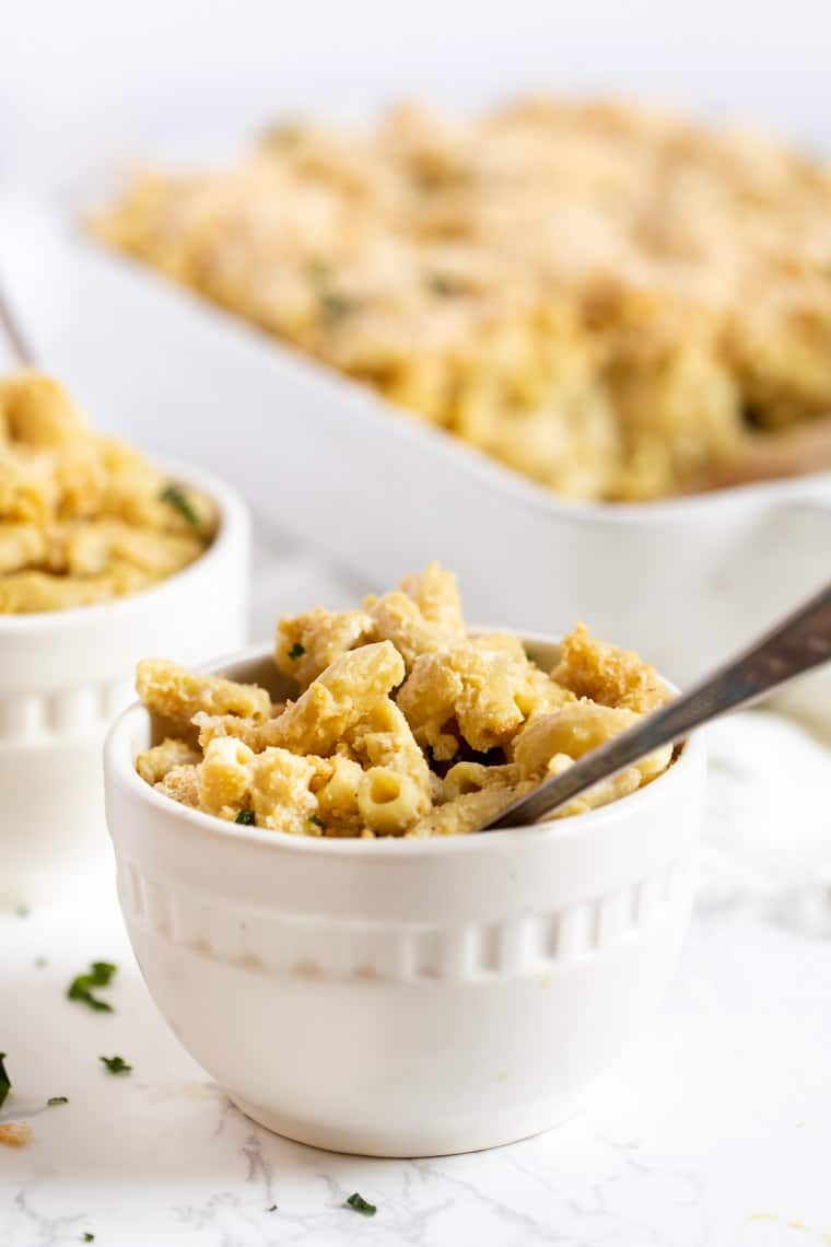Bowl of Vegan Mac and Cheese with Truffle