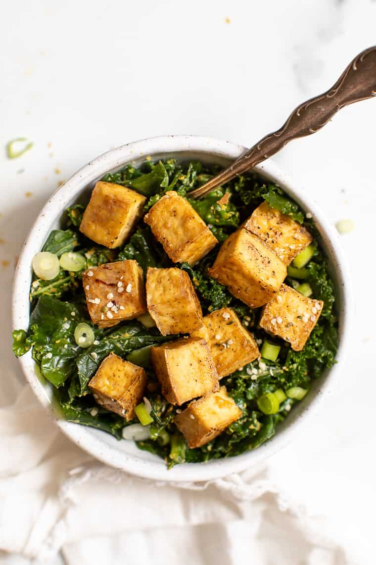 Massaged Kale Salad with Crispy Tofu