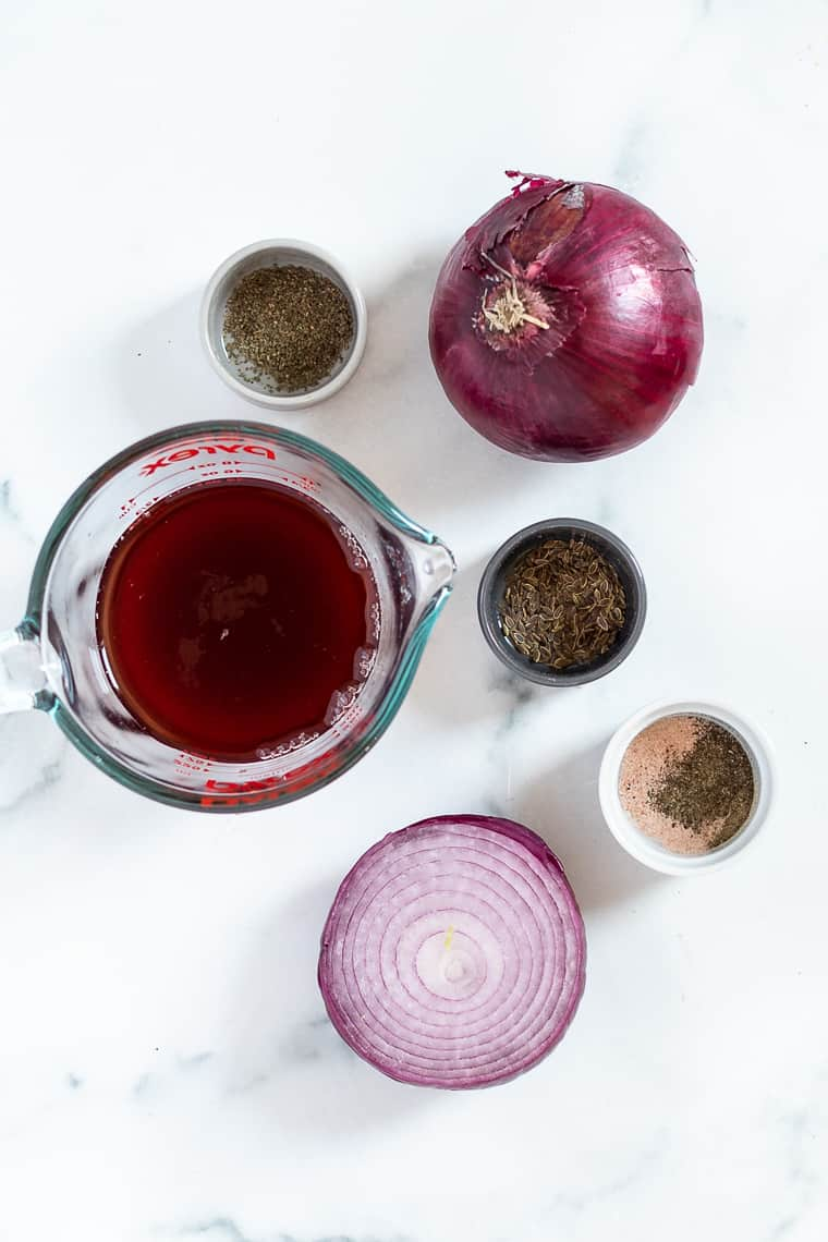 Ingredients for Pickled Red Onions