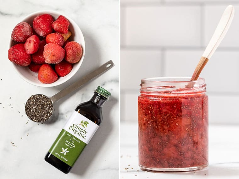 Ingredients for Strawberry Chia Jam