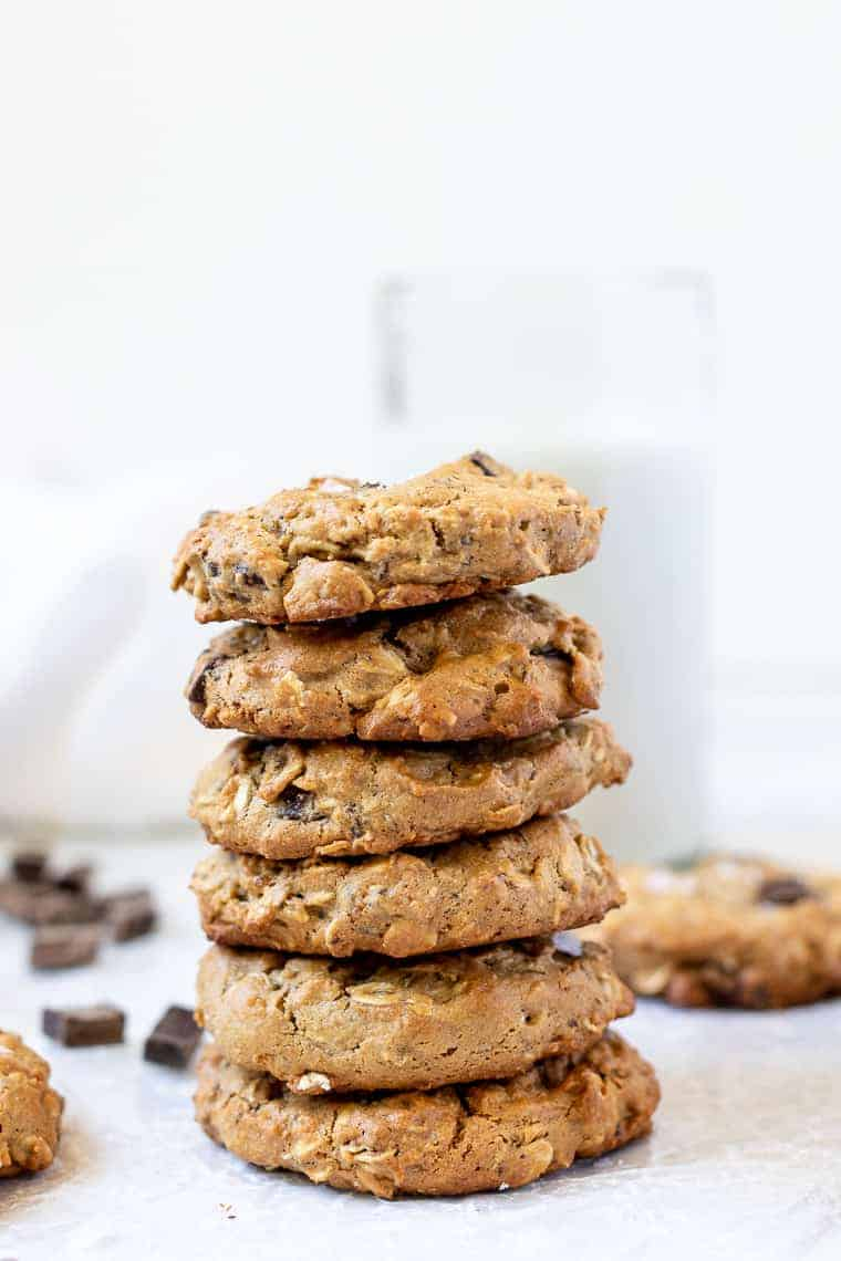 Stack of Healthy Chocolate Chip Cookies
