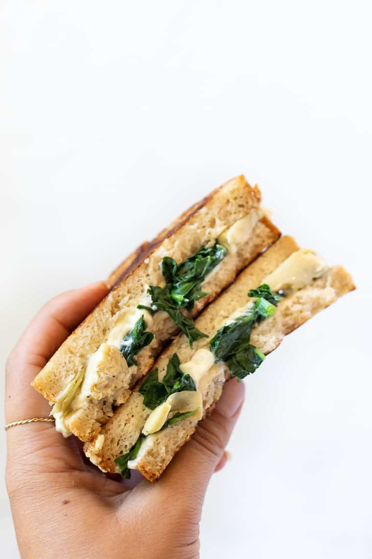 Spinach + Artichoke Vegan Grilled Cheese