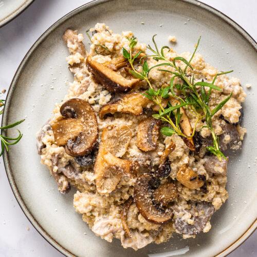 One Pot Creamy Mushroom Quinoa