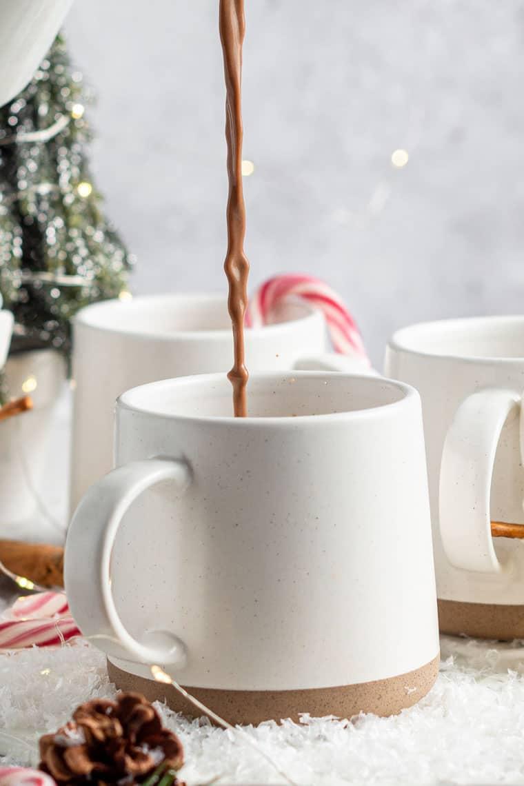 Pouring Vegan Hot Chocolate