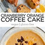 gluten free dairy free coffee cake recipe with cranberries and orange zest