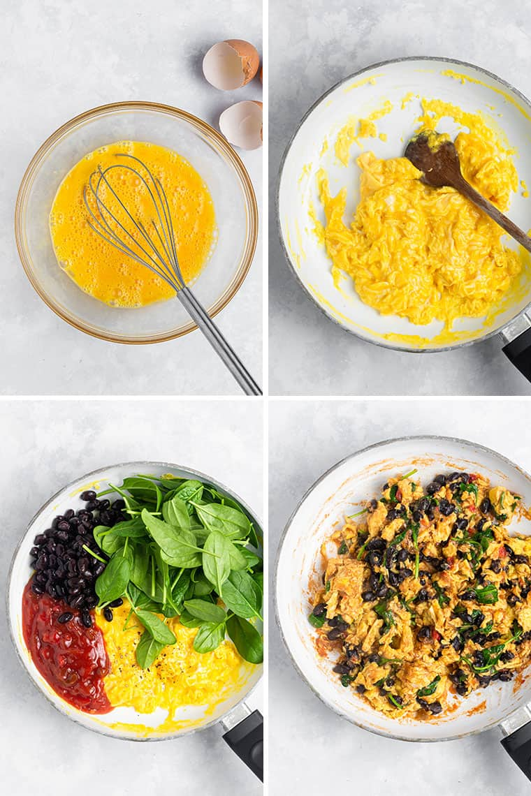 how to make vegetarian breakfast tacos with scrambled eggs
